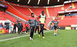 Charlton players come onto the pitch for warm up