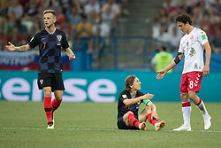 July 1, 2018 - Nizhny Novgorod, Russia - Ivan Rakitic and Luka Modric of Croatia and Thomas Delaney of Denmark during the 2018 FIFA World Cup Russia Round of 16 match between Croatia and Denmark at Nizhny Novgorod Stadium on July 1, 2018 in Nizhny Novgorod, Russia. (Credit Image: © Foto Olimpik/NurPhoto via ZUMA Press)