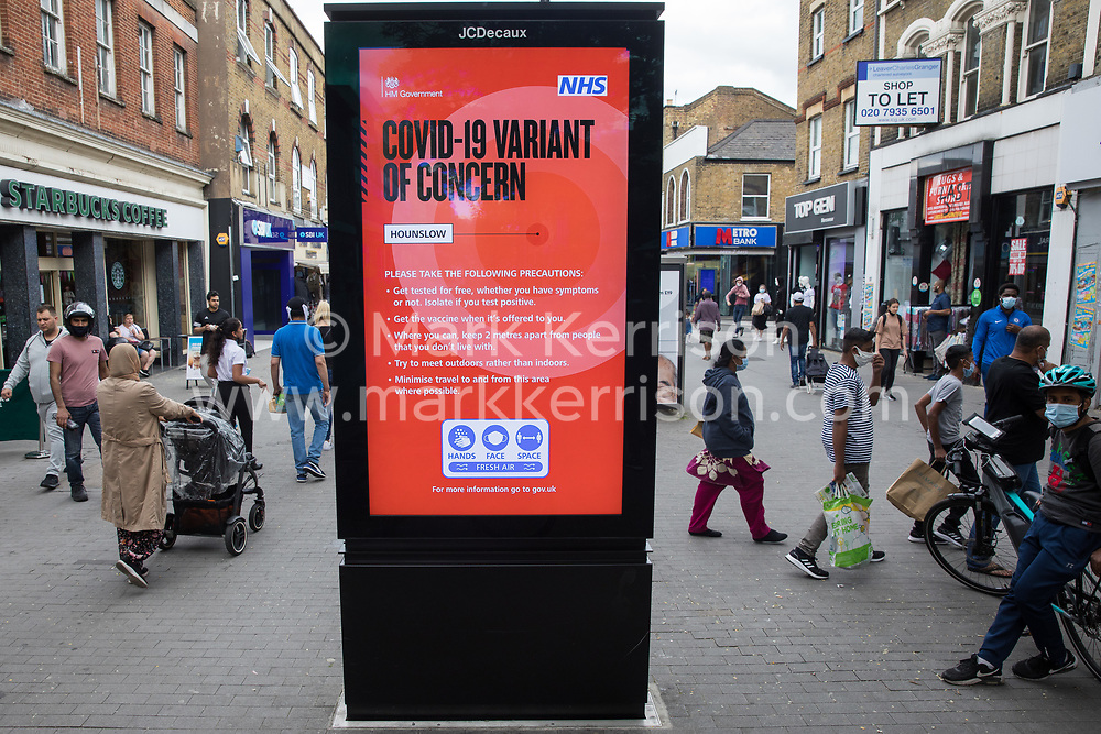 A joint Government and NHS public information display indicates that a Covid-19 Variant of Concern has been identified locally and provides guidance for residents on 11th June 2021 in Hounslow, United Kingdom. Both surge testing and increased vaccination were introduced as counter-measures after the The London Borough of Hounslow was identified as a hotspot for the Delta variant first identified in India.