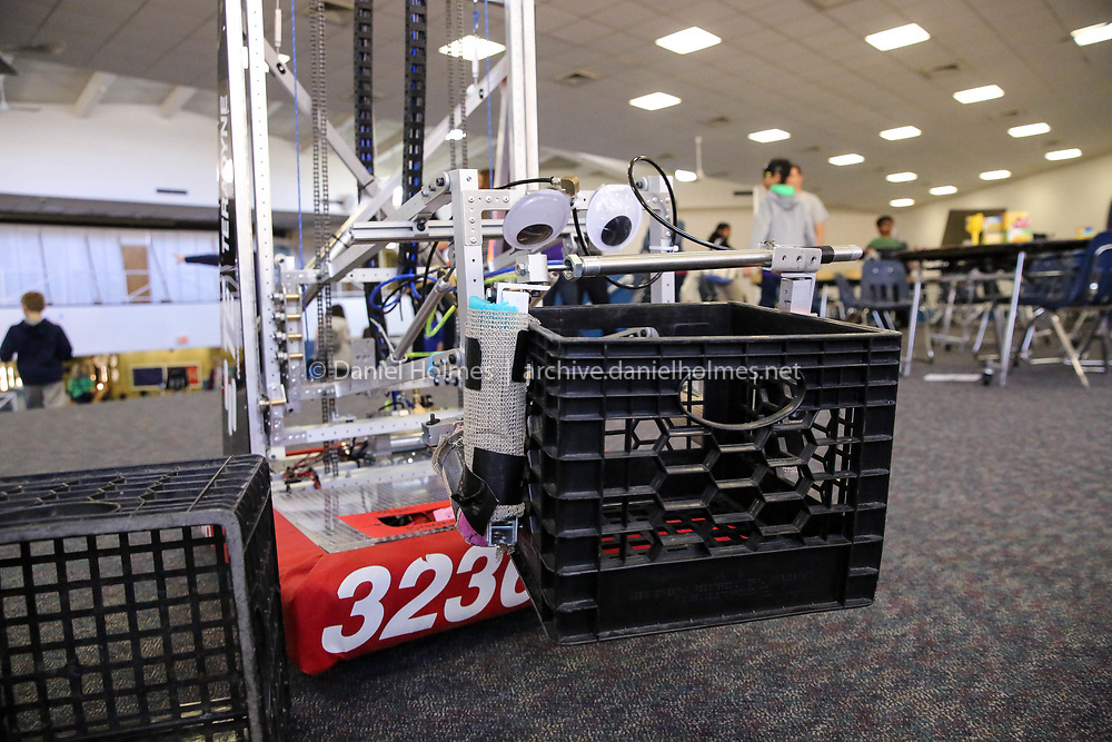 (3/31/18, FRANKLIN, MA) A robot stacks milk crates during the robotics at Tri-County High School in Franklin on Saturday. [Daily News and Wicked Local Photo/Dan Holmes]
