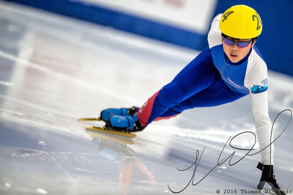 March 19, 2016 - Verona, WI - Daniel Yoon, skater number 204 competes in US Speedskating Short Track Age Group Nationals and AmCup Final held at the Verona Ice Arena.