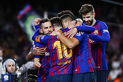 January 30, 2019 - Barcelona, Spain - FC Barcelona defender Jordi Alba (18) with his teammates of FC Barcelona celebrates after scoring the goal during the match FC Barcelona v Sevilla CF, for the round of 8, second leg of the Copa del Rey played at Camp Nou  on 30th January 2019 in Barcelona, Spain. (Credit Image: © Mikel Trigueros/NurPhoto via ZUMA Press)