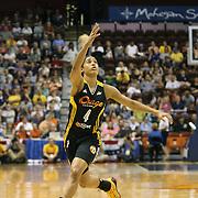 Skylar Diggins, Tulsa Shock, in action during the Connecticut Sun Vs Tulsa Shock WNBA regular season game at Mohegan Sun Arena, Uncasville, Connecticut, USA. 3rd July 2014. Photo Tim Clayton