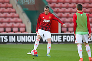Manchester United Phil Jones in warm up during the Barclays U21 Premier League match between U21 Southampton and U21 Manchester United at the St Mary's Stadium, Southampton, England on 25 April 2016. Photo by Phil Duncan.