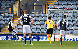 Raith Rovers Ryan McCord scoring their second goal from a penalty. <br /> Half time : Raith Rovers 2 v 0 Livingston, SPFL Ladbrokes Premiership game played 8/8/2015 at Stark's Park.