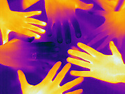 A Thermogram of different hands.  The adult hands are much cooler than the childs hands. The different colors represent different temperatures on the object. The lightest colors are the hottest temperatures, while the darker colors represent a cooler temperature.  Thermography uses special cameras that can detect light in the far-infrared range of the electromagnetic spectrum (900?14,000 nanometers or 0.9?14 µm) and creates an  image of the objects temperature..