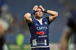 James Hall (Bristol) shows his dejection after the match - Photo mandatory by-line: Patrick Khachfe/JMP - Tel: Mobile: 07966 386802 28/05/2014 - SPORT - RUGBY UNION - Kassam Stadium, Oxford - London Welsh v Bristol Rugby - Greene King IPA Championship.
