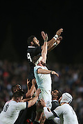 Patrick Tuipulotu of the All Blacks battles in the lineout with Tom Wood of England during the third rugby test between the All Blacks and England played at Waikato Stadium in Hamilton during the Steinlager Series - All Blacks v England, Hamiton, 21 June 2014<br /> www.photosport.co.nz