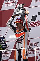 MARQUEZ Marc of Spain and Repsol Honda Team celebrates his world title on the podium during the Moto GP Valencia Grand Prix at Ricardo Tormo circuit, Cheste in Spain on november 09, 2014 - Photo Milagro / DPPI