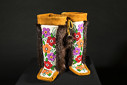 Adaka Cultural Festival 2016, Whitehorse, Yukon, Canada, Yukon First Nation Culture and Tourism Association, Kwanlin Dun Cultural Centre, Lena White, moccasins, beadwork