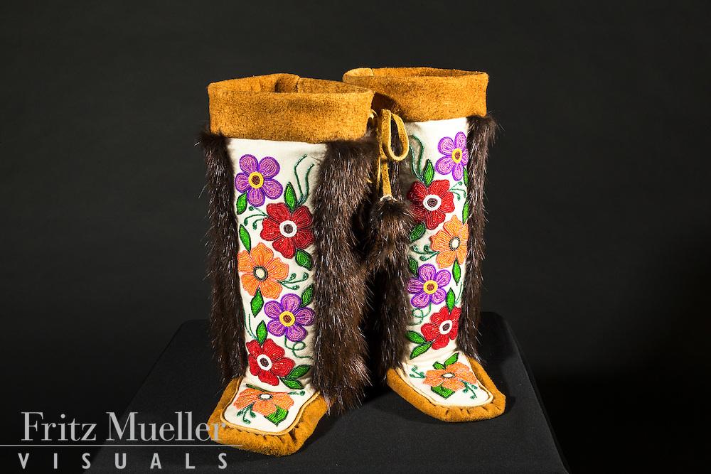 Adaka Cultural Festival 2016, Whitehorse, Yukon, Canada, Yukon First Nation Culture and Tourism Association, Kwanlin Dun Cultural Centre, Lena White, moccasins, beadwork