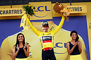 Podium, Hotess, Miss, Greg Van Avermaet (BEL - BMC) Yellow jersey, during the 105th Tour de France 2018, Stage 7, Fougeres - Chartres (231km) on July 13th, 2018 - Photo Luca Bettini / BettiniPhoto / ProSportsImages / DPPI