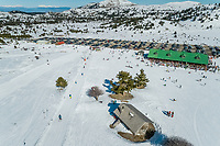 Aerial view of ski resort located at beautiful mountain range of Erymanthos, Greece