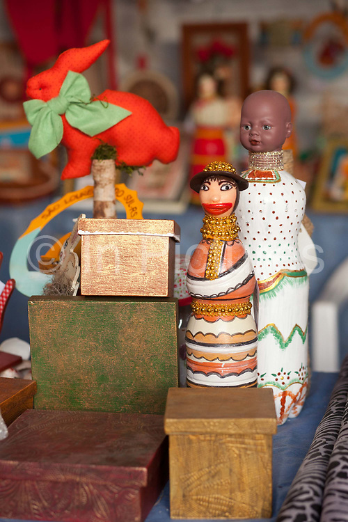 Detail shot of traditional Gaucho crafts made from wood, figurines. Reponte da Cancao music festival and song competition in Sao Lorenzo do Sul, RIo Grande do Sul, Brazil.