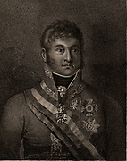 Karl Philip, Prince of Schwarzenberg (1771-1820) Austrian soldier and diplomat; general 1810; field-marshal 1812. Negotiated marriage of Napoleon I and Maria Louisa of Austria.   Commanded the Austrian army at the Battle of Leipzig, 1813.  Stipple engraving