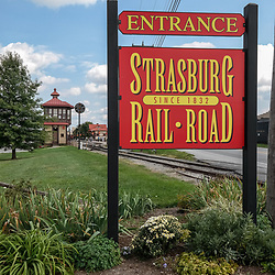 Strasburg, PA, USA - September 30, 2014: Entrance sign to the Strasburg Rail Road