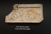 Roman amphitheatre museum display of stonework detail  Cadiz, Spain
