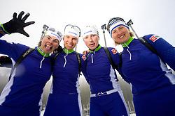 Andreja Mali, Teja Gregorin, Dijana Grudicek Ravnikar and Tadeja Brankovic Likozar of Slovenian women biathlon team before new season 2009/2010,  on November 16, 2009, in Pokljuka, Slovenia.   (Photo by Vid Ponikvar / Sportida)