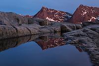 Midnight twilight reflection at Tungeneset, Senja, Norway
