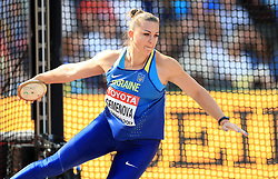 Ukraine's Natalia Semenova competes in the Women's Discus Throw Qualifying during day eight of the 2017 IAAF World Championships at the London Stadium