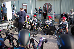 Cervélo-Bigla Cycling Team riders prepare for the Crescent Vargarda - a 42.5 km team time trial, starting and finishing in Vargarda on August 11, 2017, in Vastra Gotaland, Sweden. (Photo by Balint Hamvas/Velofocus.com)