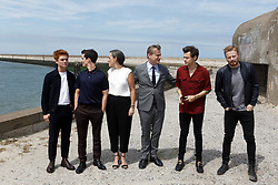 L-R: Tom Glynn-Carney, Fionn Whitehead, producer Emma Thomas, Christopher Nolan, Harry Styles and Jack Lowden attending the Photocall of Dunkirk in Dunkerque, France, on July 16, 2017. Photo by Sylvain Lefevre/ABACAPRESS.COM