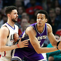 26 March 2016: Sacramento Kings forward Skal Labissiere (3) posts up LA Clippers guard Austin Rivers (25) during the Sacramento Kings 98-97 victory over the Los Angeles Clippers, at the Staples Center, Los Angeles, California, USA.