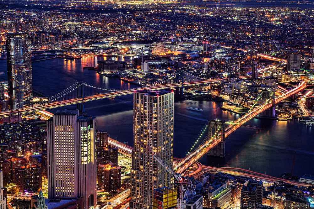 Manhattan Bridge (left) & Brooklyn Bridge @ Night