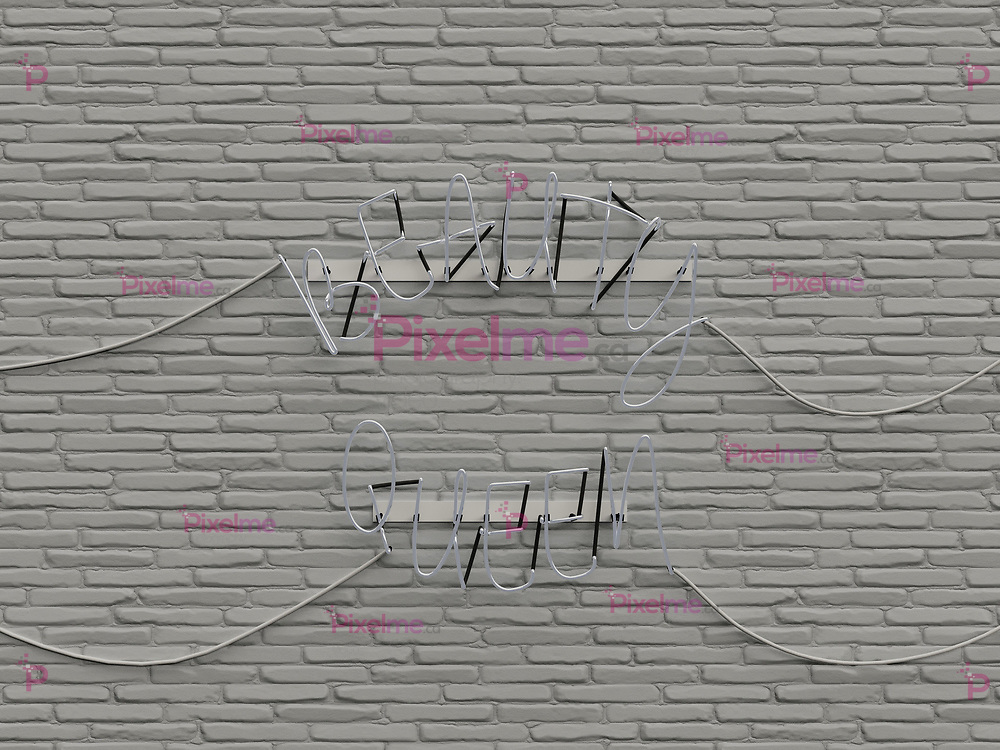 Beauty Queen neon sign over white brick wall with all words in Off - 3d rendering concept
