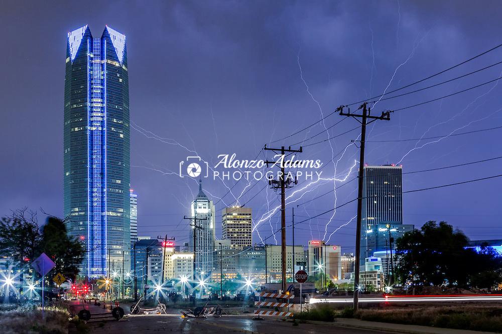 Upward lightning fills the sky over downtown Oklahoma City on Friday, May 27, 2016. (Photo copyright © 2016 Alonzo J. Adams)