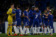 Chelsea players hug and give high 5's ahead of kick off.<br /> Premier league match, Chelsea v Manchester United at Stamford Bridge in London on Sunday 5th November 2017.<br /> pic by Kieran Clarke, Andrew Orchard sports photography.