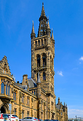 View of old gothic buildings of Glasgow University in Glasgow, Scotland UK
