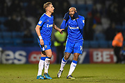 Gillingham FC midfielder Lee Martin (11) and Gillingham FC forward Josh Parker (14) during the EFL Sky Bet League 1 match between Gillingham and Rochdale at the MEMS Priestfield Stadium, Gillingham, England on 13 January 2018. Photo by Martin Cole.