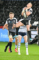 Rugby Union - 2019 / 2020 Guinness Pro14 - Ospreys vs. Cardiff Blues<br /> <br /> Hanno Dirksenof Ospreys leaps for the ball at The Liberty Stadium.<br /> <br /> COLORSPORT/WINSTON BYNORTH