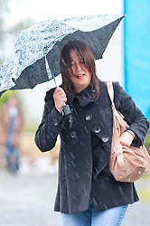 © London News Pictures. 29/05/2015. Hay-on-Wye, Powys, Wales, UK. The ninth day of the Hay Festival 2015 starts with heavy rain. Photo credit : Graham M. Lawrence/LNP.