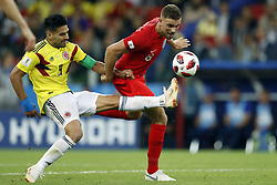(l-r) Radamel Falcao Garcia of Colombia, Jordan Henderson of England during the 2018 FIFA World Cup Russia round of 16 match between Columbia and England at the Spartak stadium  on July 03, 2018 in Moscow, Russia