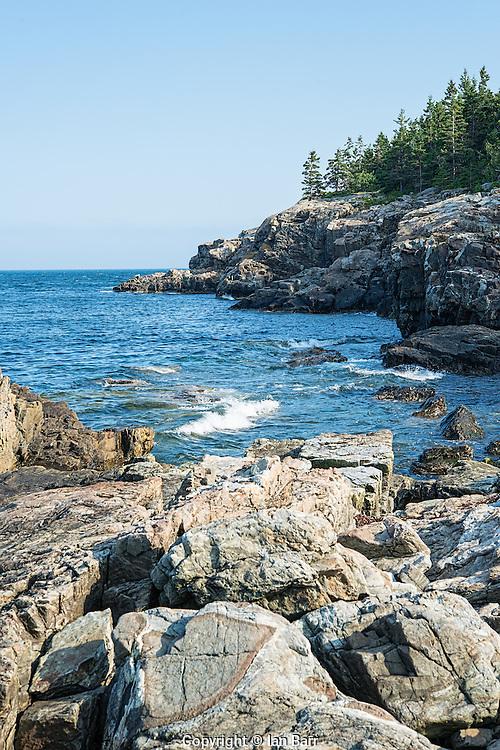 Acadia National Park's rugged rocky coastline.Maine, USA.