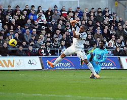 Tottenham Hotspur's Emmanuel Adebayor sees his volley well saved - Photo mandatory by-line: Joe Meredith/JMP - Tel: Mobile: 07966 386802 19/01/2014 - SPORT - FOOTBALL - Liberty Stadium - Swansea - Swansea City v Tottenham Hotspur - Barclays Premier League
