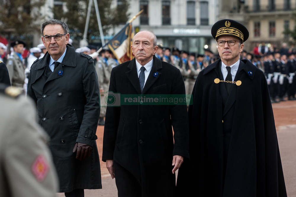 November 11, 2018 - Lyon, France - David Kimelfeld, Gérard Collomb, Pascal Mailhos  during commemoration of the centenary of the armistice of 11 November of the 1914-1918 war on 11 November, 2018, in Lyon, France. In the presence of the mayor of the city and former Minister of the Interior Gérard Collomb and the prefect of the Rhône Pascal Mailhos. (Credit Image: © Nicolas Liponne/NurPhoto via ZUMA Press)