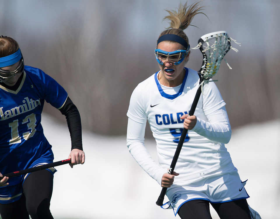 Jackie Brokaw, of Colby College, in a NCAA Division III lacrosse game against Hamilton College on March 7, 2015 in Waterville, ME. (Dustin Satloff/Colby College Athletics)