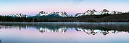 Sunrise at Little Redfish Lake, a touch of rose to color the morning scene.  The Sawtooth Range reflection in the still water of the lake. <br /> <br /> This is a 500 megabyte file and can be printed 6 foot wide at 300 dpi or 12 foot wide at 150 dpi.