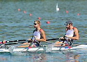 Banyoles, SPAIN,  USA M2X, Bow Sam STITT and G. OCHAL, move away from the start in their heat of the men's double sculls during the FISA World Cup Rd 1. Lake Banyoles  Friday,  29/05/2009   [Mandatory Credit. Peter Spurrier/Intersport Images]