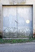 old wooden garage door