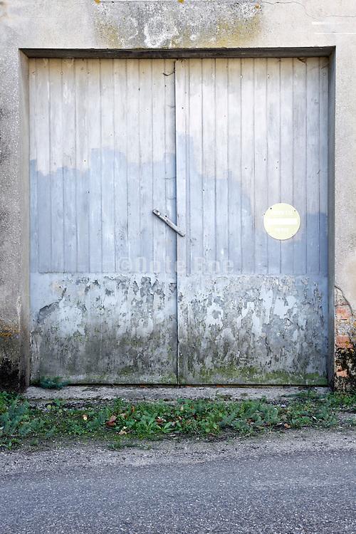 old wooden garage door