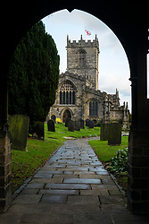 St Marys Church Ecclesfield lit by the the early afternoon winter sun viewed through the Lychgate <br /> <br />  30 December 2018<br />  Copyright Paul David Drabble<br />  www.pauldaviddrabble.co.uk