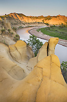Sandstone formations along the Little Missouri River, Theodore Rossevelt National Park, North Dakota