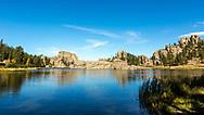Sylvan Lake,Custer State Park,Black HillsofSouth Dakota. Five miles southwest of Mount Rushmore. Trail to Black Elk Peak starts at Sylvan Lake, 3.5 miles to the summit. Photo taken September 29, 2017.