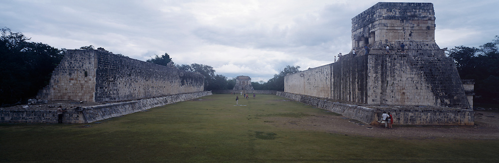Mayan Ball Court in Chichen Itza with people