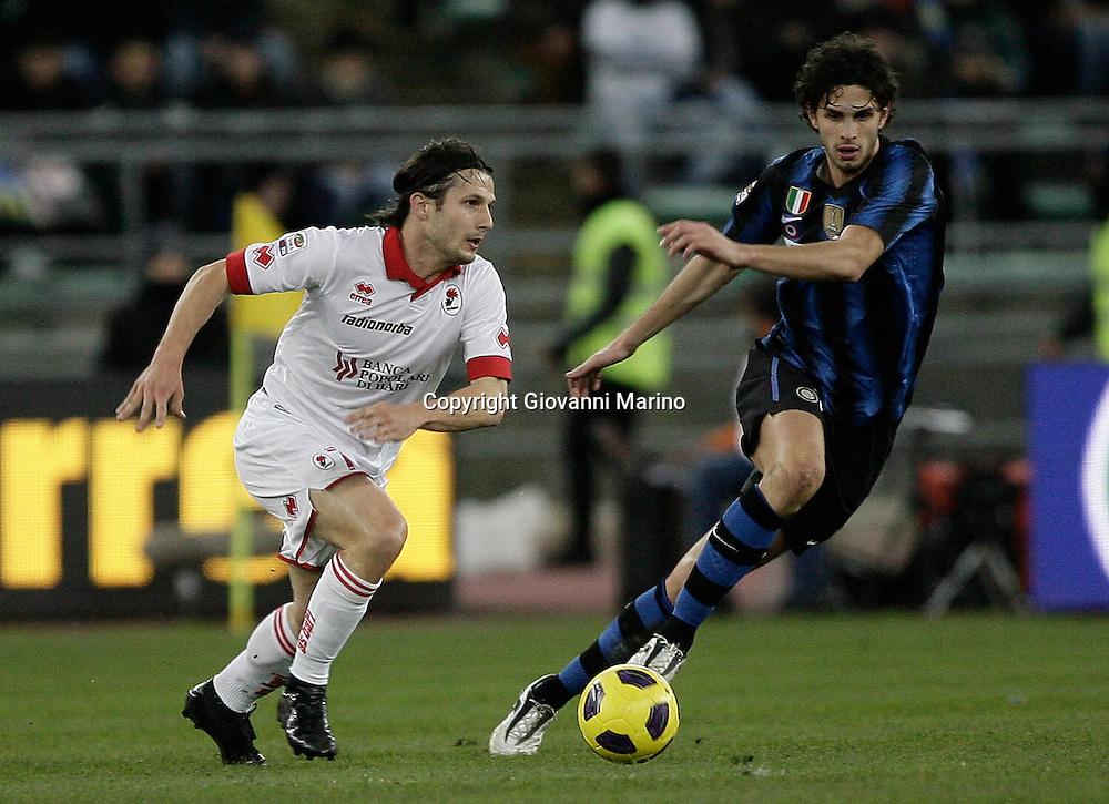 Bari (BA), 03-02-2011 ITALY - Italian Soccer Championship Day 23 - Bari VS Inter..Pictured: Ranocchia (I) Bentivoglio (B)..Photo by Giovanni Marino/OTNPhotos . Obligatory Credit