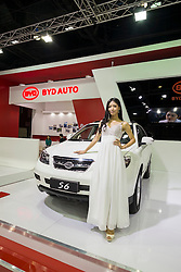 Chinese BYD cars on display at the Dubai Motor Show 2013 United Arab Emirates